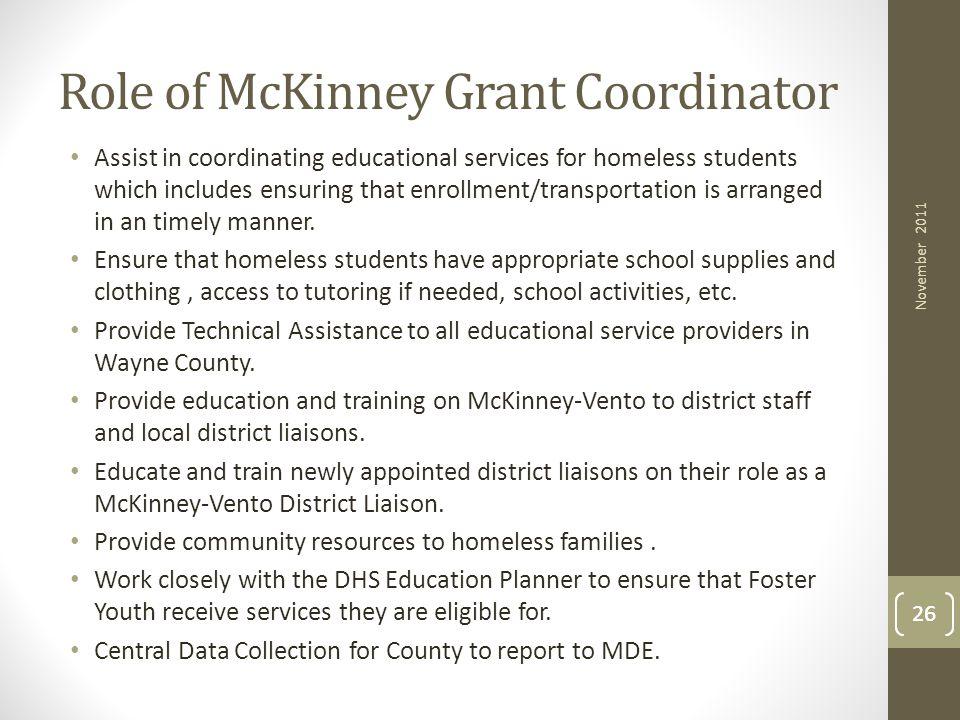 Role of McKinney Grant Coordinator