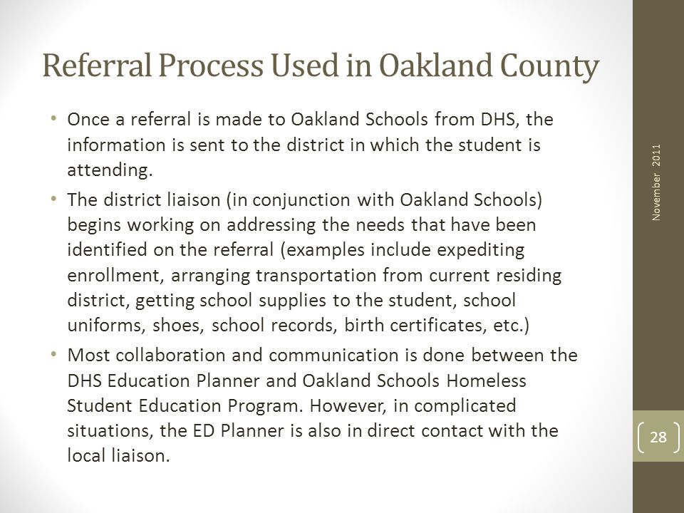 Referral Process Used in Oakland County