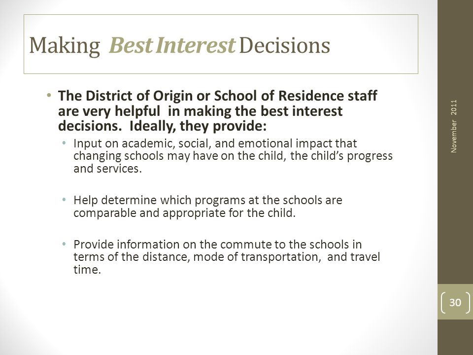 Making Best Interest Decisions