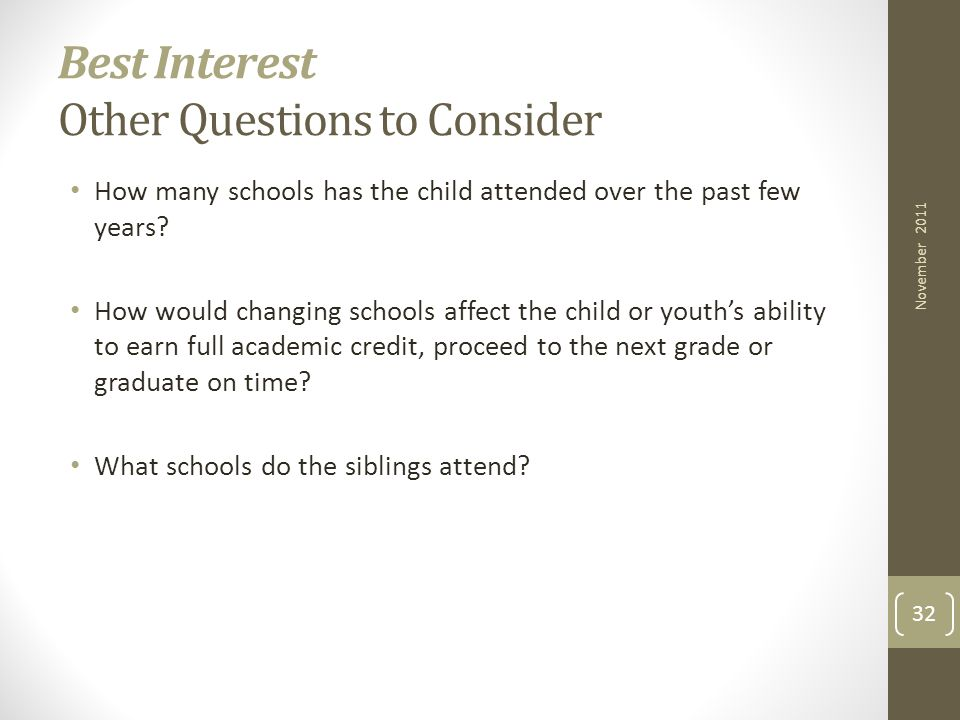 Best Interest Other Questions to Consider