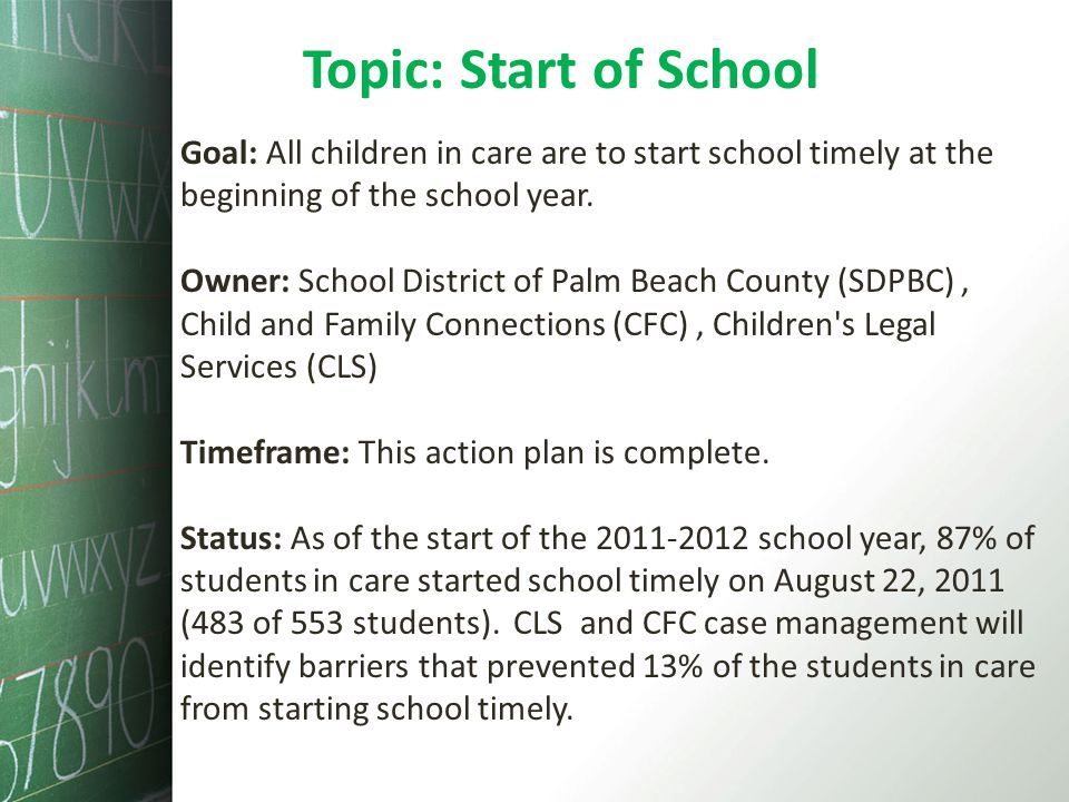 Topic: Start of School Goal: All children in care are to start school timely at the beginning of the school year.