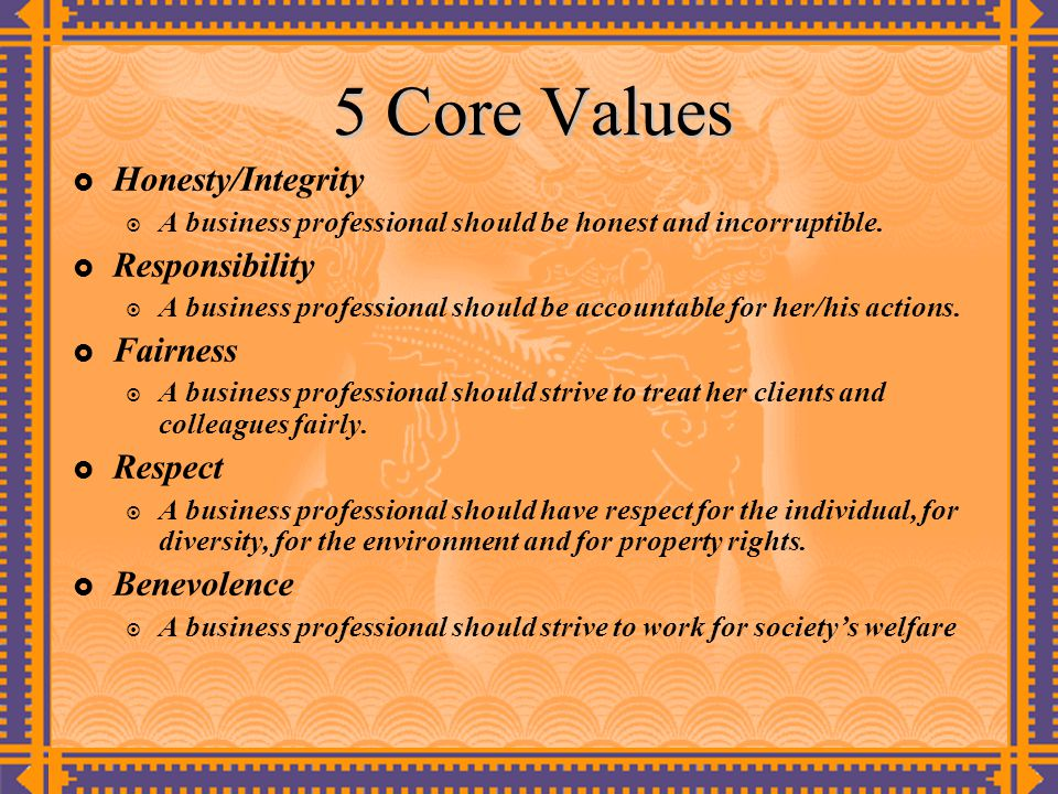 5 Core Values Honesty/Integrity Responsibility Fairness Respect