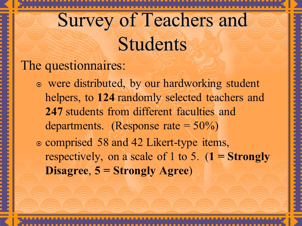 Survey of Teachers and Students