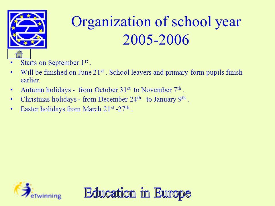 Organization of school year 2005-2006