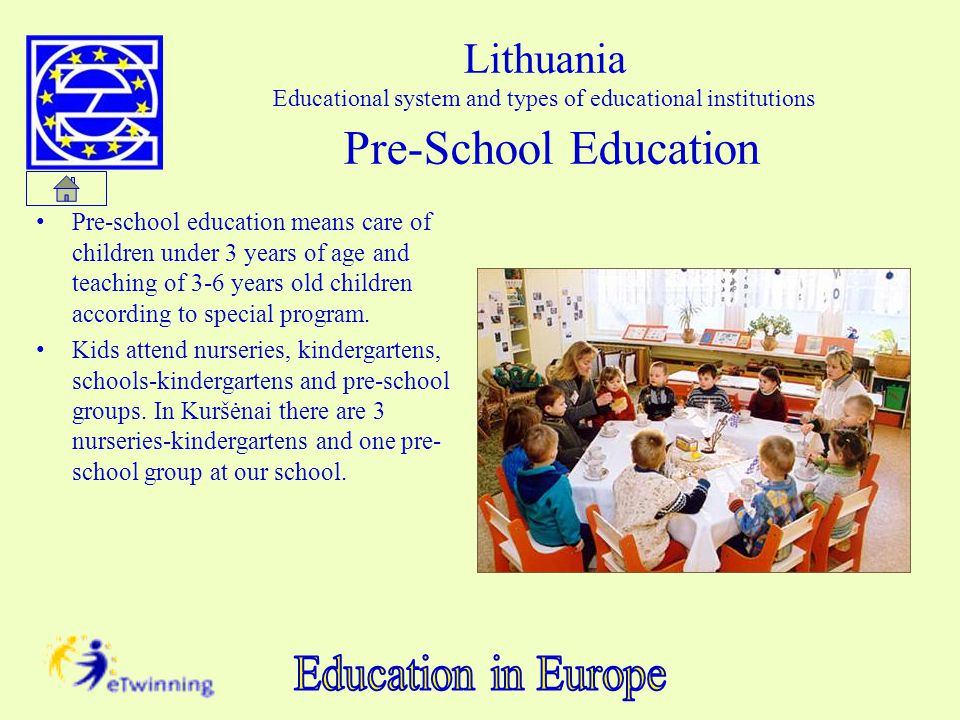 Lithuania Educational system and types of educational institutions Pre-School Education