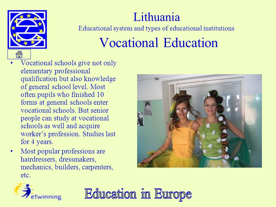 Lithuania Educational system and types of educational institutions Vocational Education