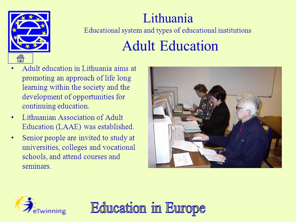 Lithuania Educational system and types of educational institutions Adult Education