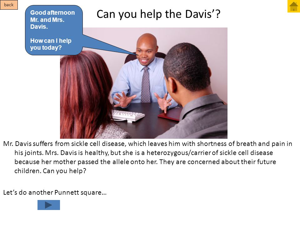 back Can you help the Davis' Good afternoon Mr. and Mrs. Davis. How can I help you today
