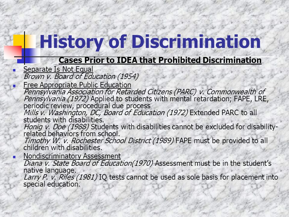 History of Discrimination