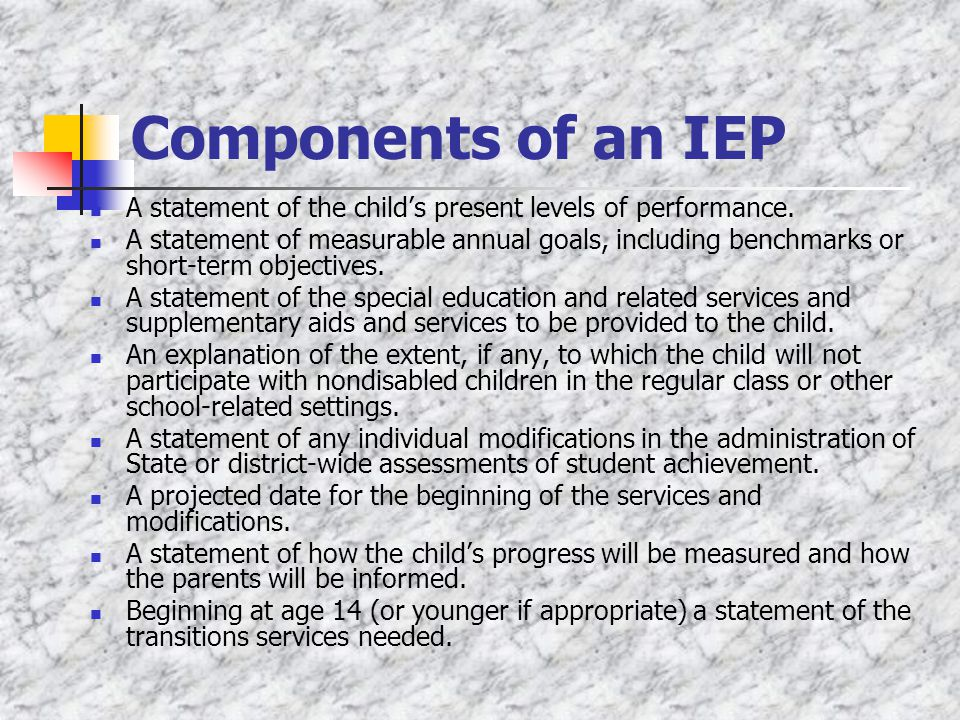 Components of an IEP A statement of the child's present levels of performance.