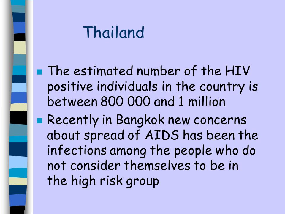 Thailand The estimated number of the HIV positive individuals in the country is between 800 000 and 1 million.