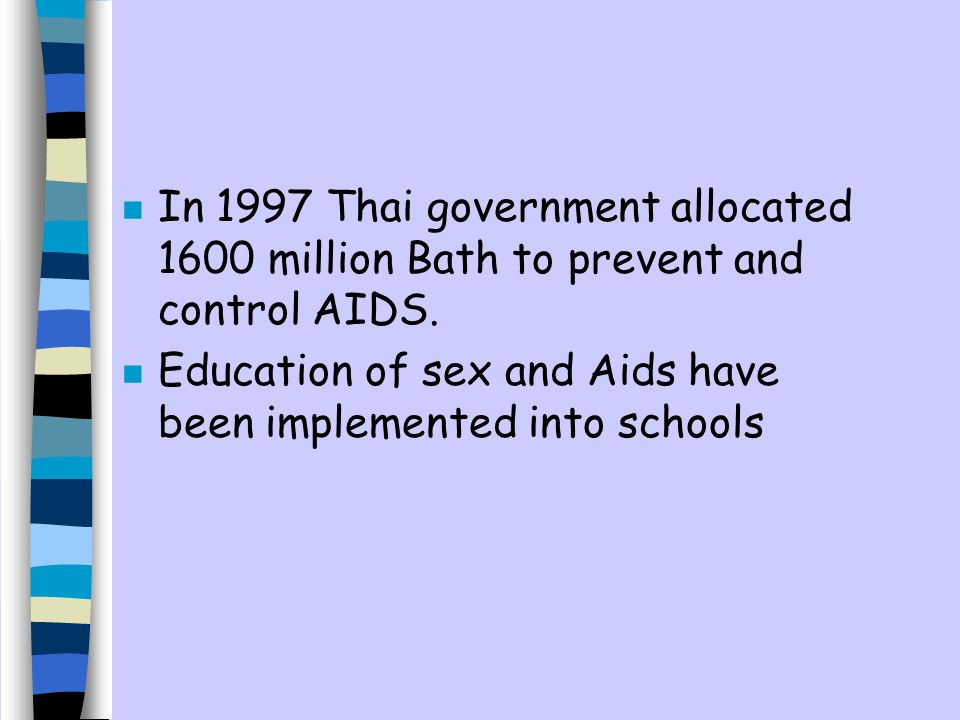 In 1997 Thai government allocated 1600 million Bath to prevent and control AIDS.