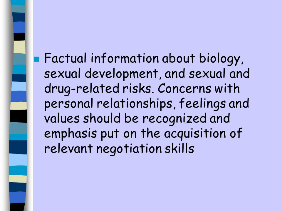 Factual information about biology, sexual development, and sexual and drug-related risks.