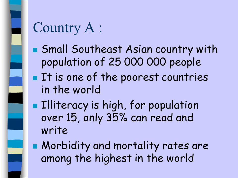 Country A : Small Southeast Asian country with population of 25 000 000 people. It is one of the poorest countries in the world.