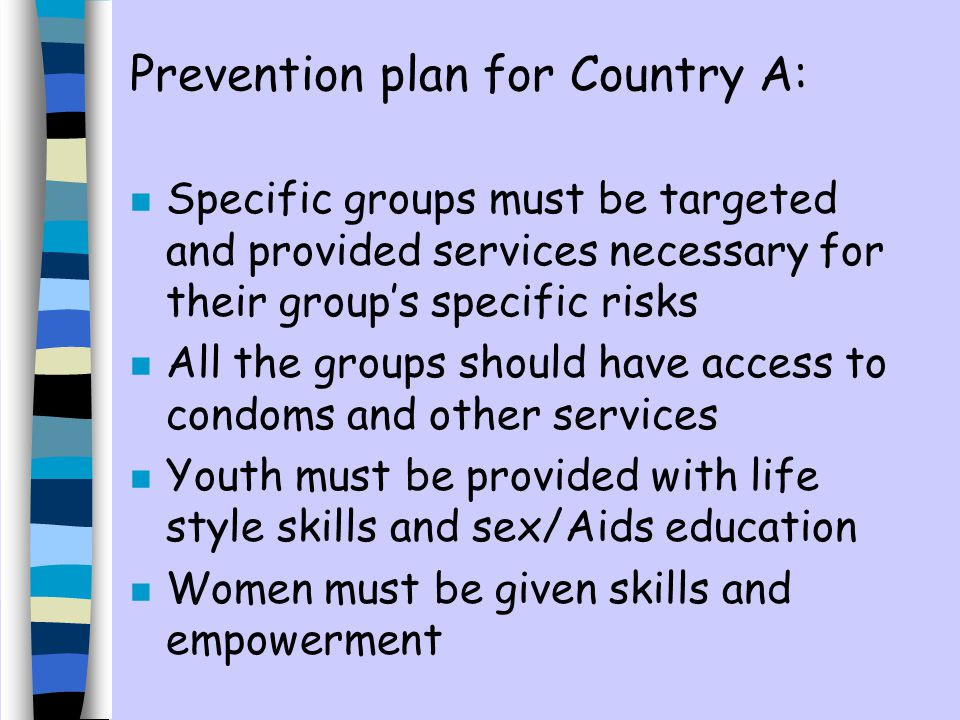 Prevention plan for Country A: