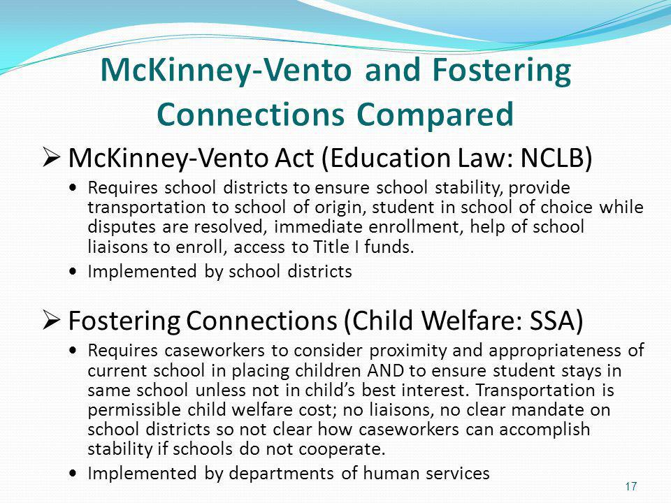 McKinney-Vento and Fostering Connections Compared