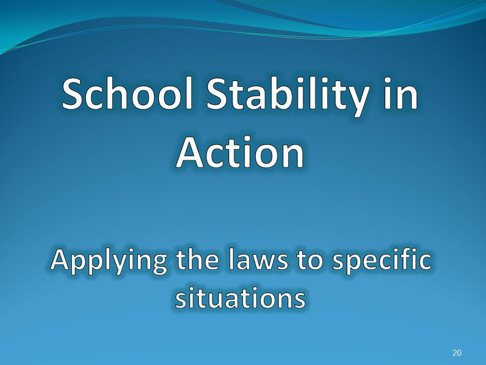 School Stability in Action Applying the laws to specific situations
