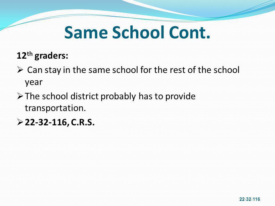 Same School Cont. 12th graders: