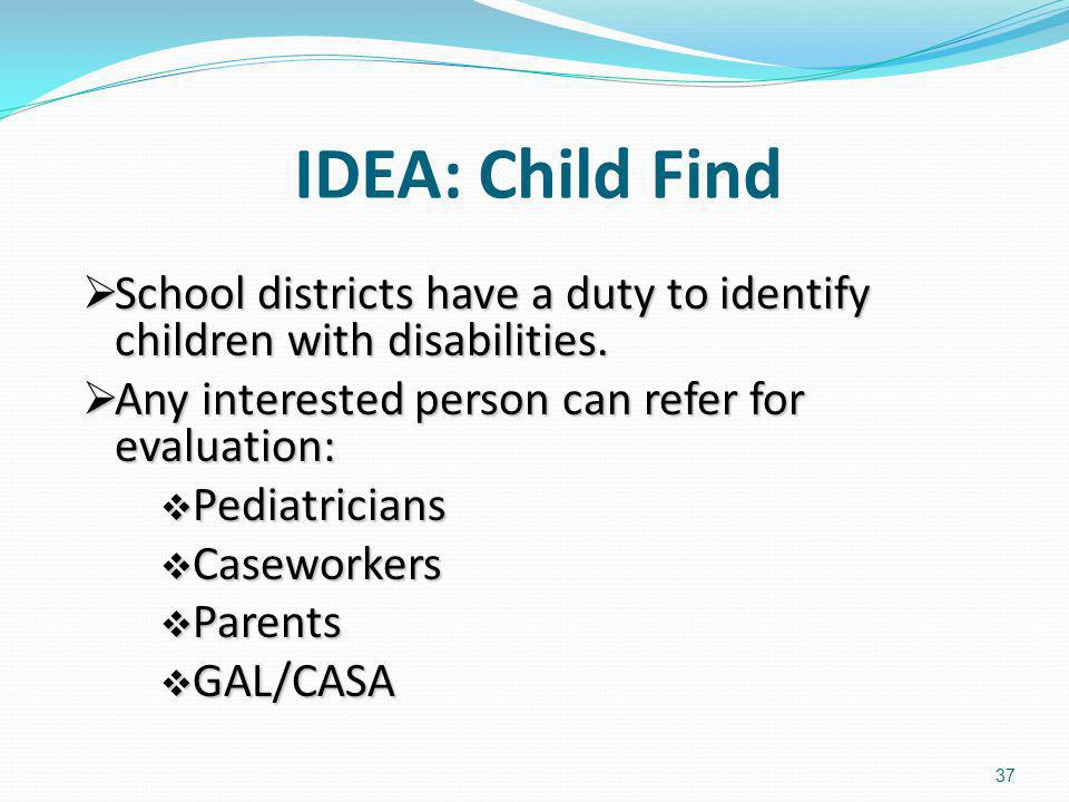 IDEA: Child Find School districts have a duty to identify children with disabilities. Any interested person can refer for evaluation: