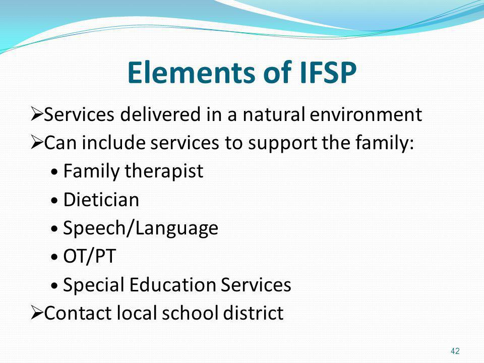Elements of IFSP Services delivered in a natural environment