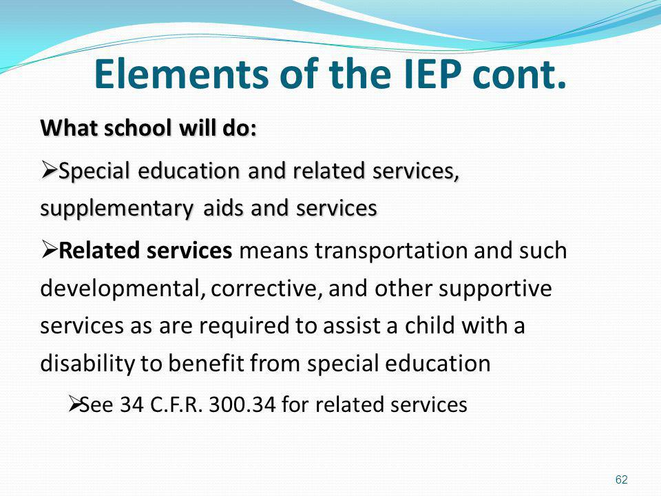 Elements of the IEP cont.