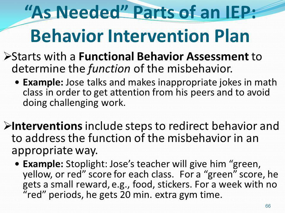 As Needed Parts of an IEP: Behavior Intervention Plan