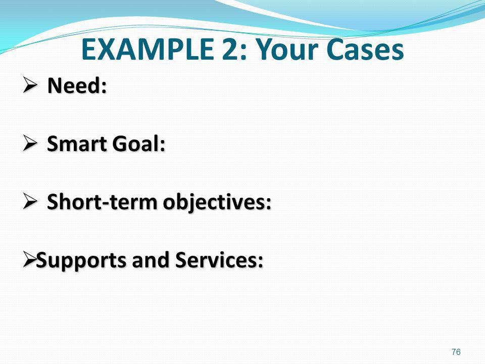 EXAMPLE 2: Your Cases Need: Smart Goal: Short-term objectives: