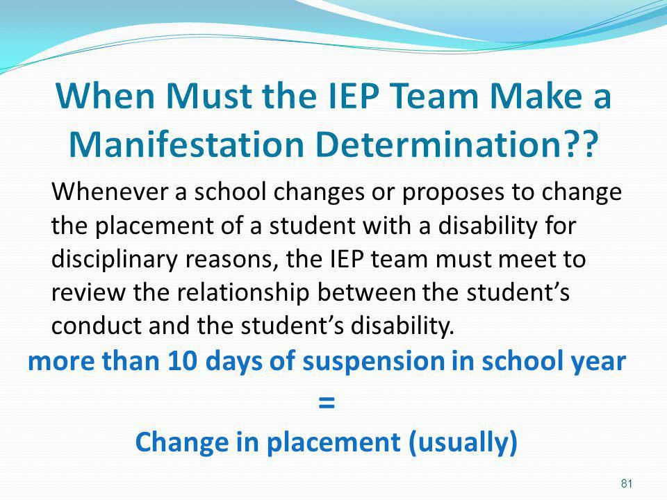 When Must the IEP Team Make a Manifestation Determination