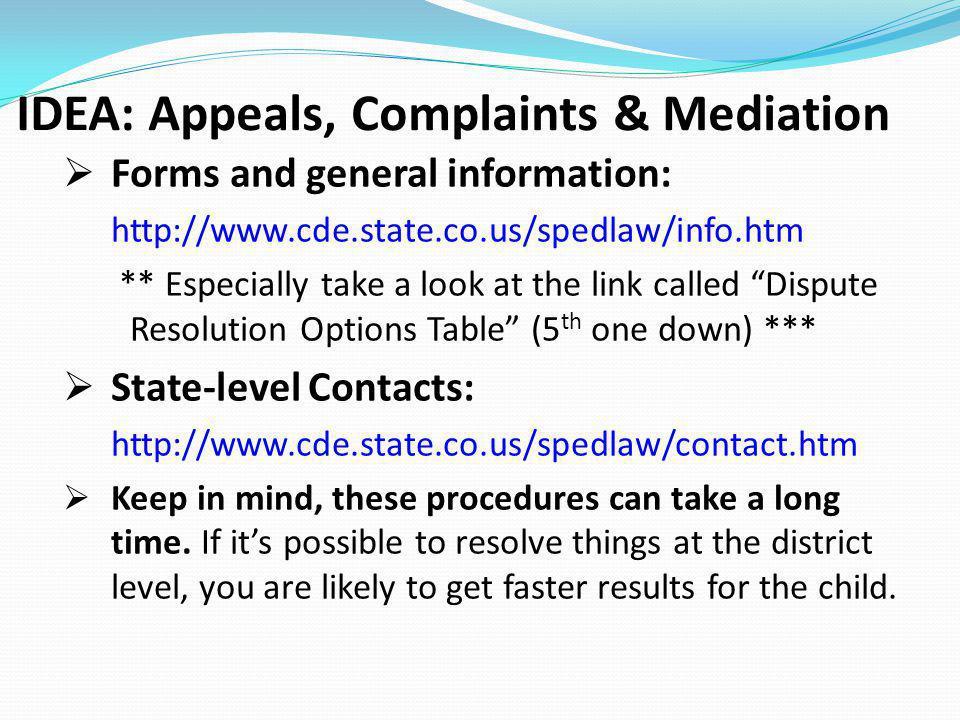 IDEA: Appeals, Complaints & Mediation