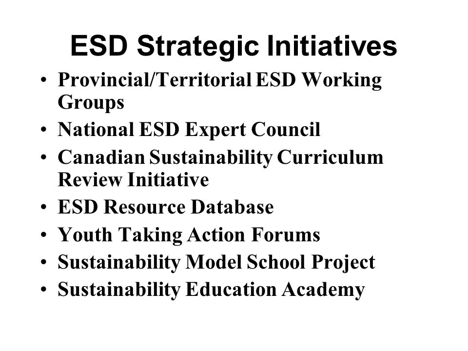 ESD Strategic Initiatives
