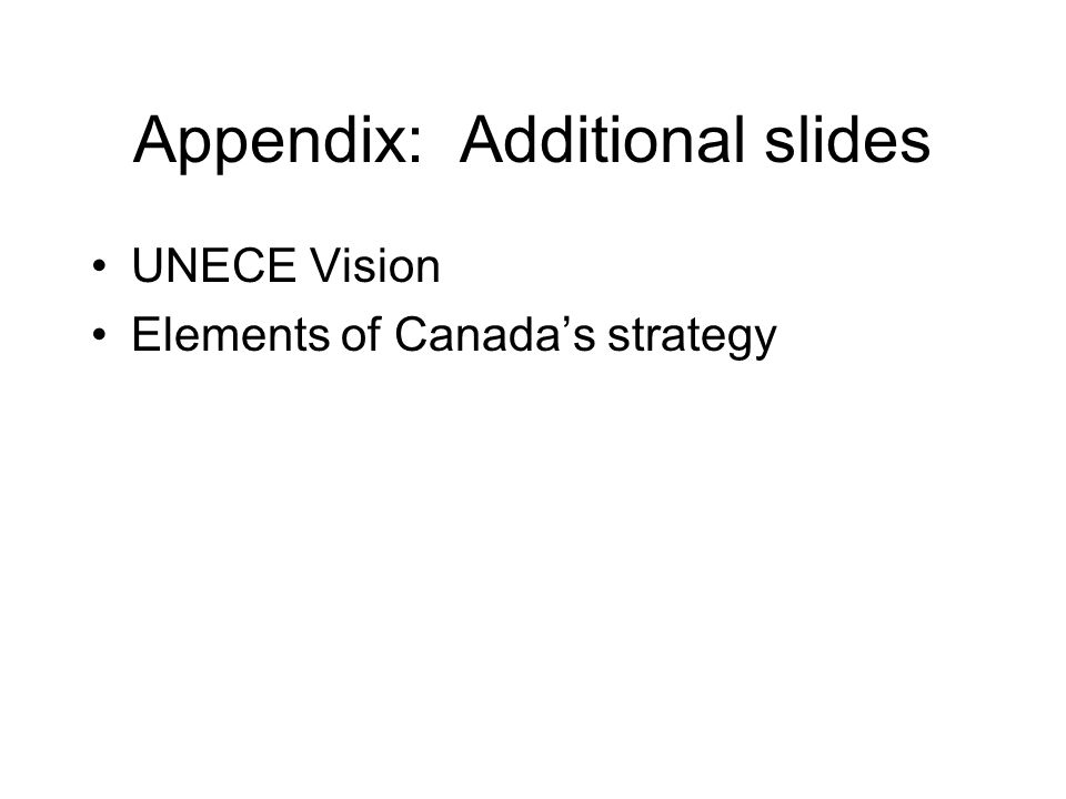 Appendix: Additional slides