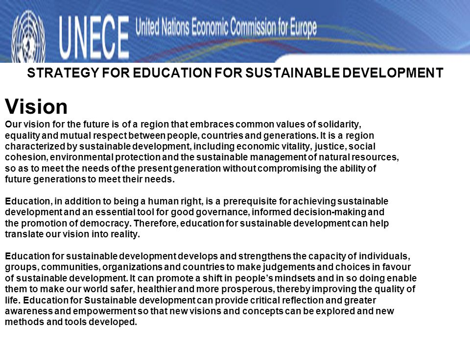 STRATEGY FOR EDUCATION FOR SUSTAINABLE DEVELOPMENT