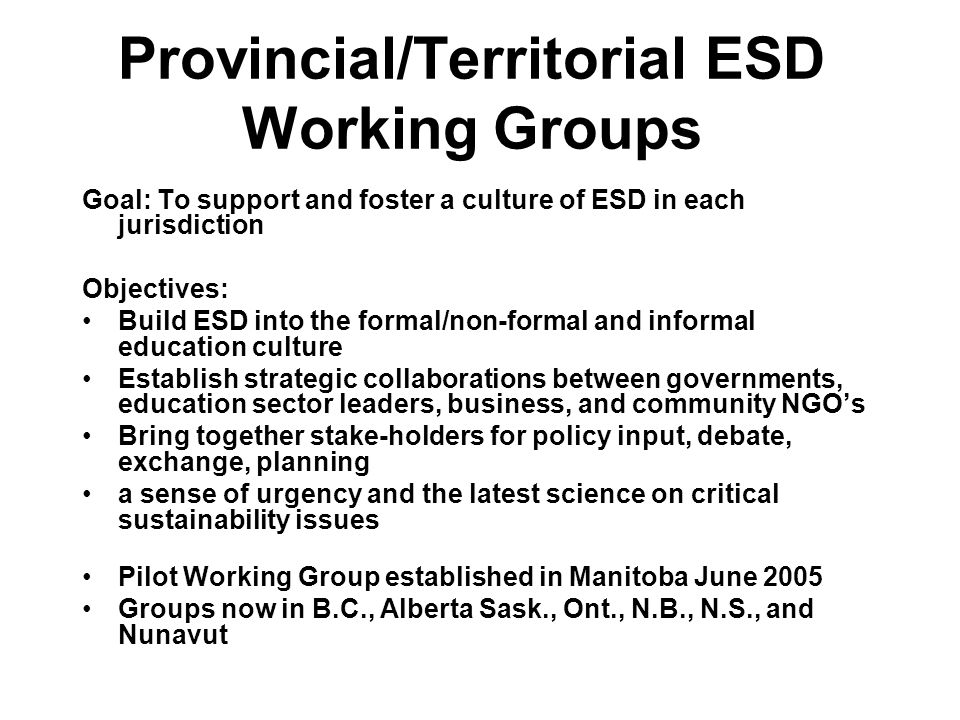 Provincial/Territorial ESD Working Groups