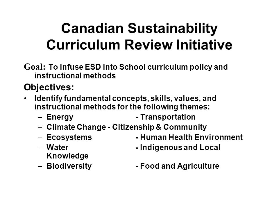 Canadian Sustainability Curriculum Review Initiative