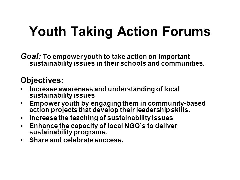 Youth Taking Action Forums