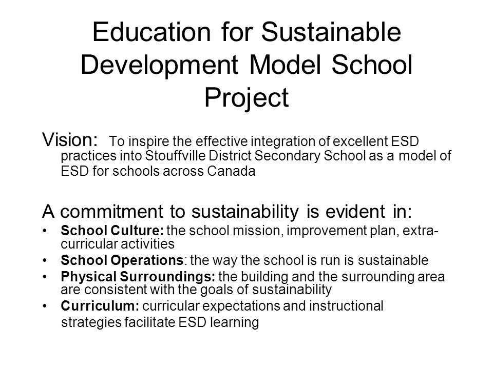Education for Sustainable Development Model School Project