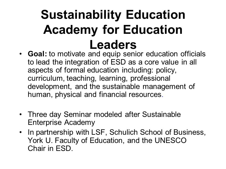 Sustainability Education Academy for Education Leaders