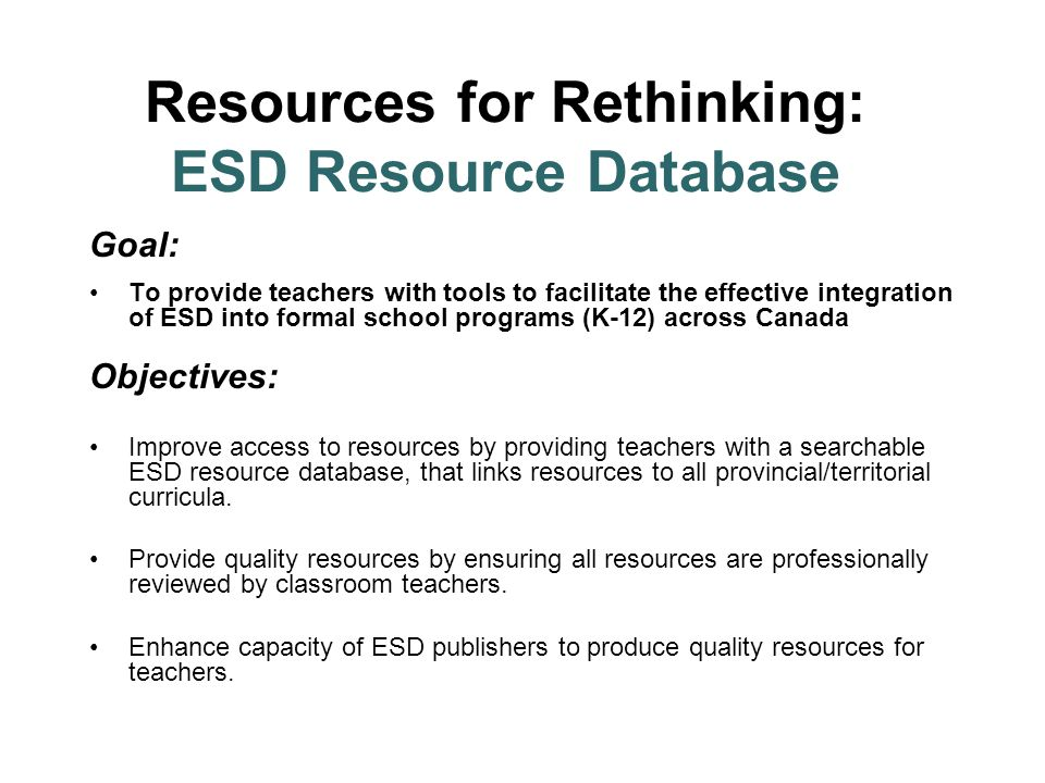 Resources for Rethinking: ESD Resource Database