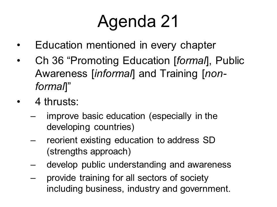Agenda 21 Education mentioned in every chapter