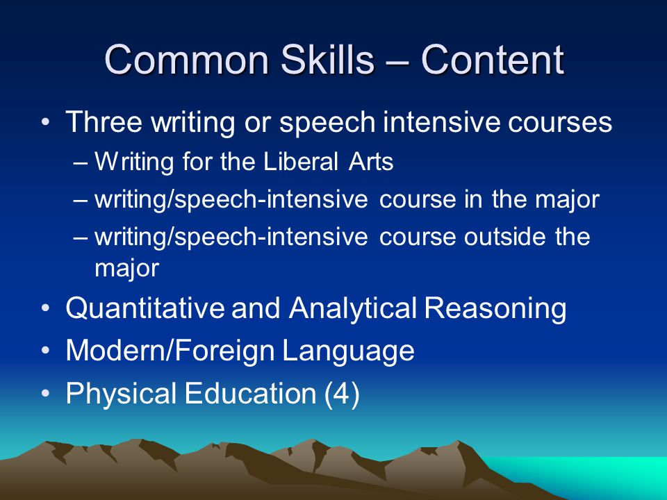 Common Skills – Content