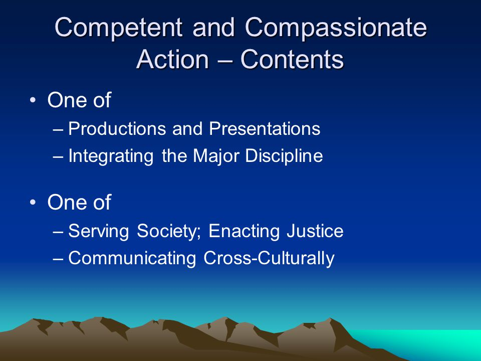 Competent and Compassionate Action – Contents