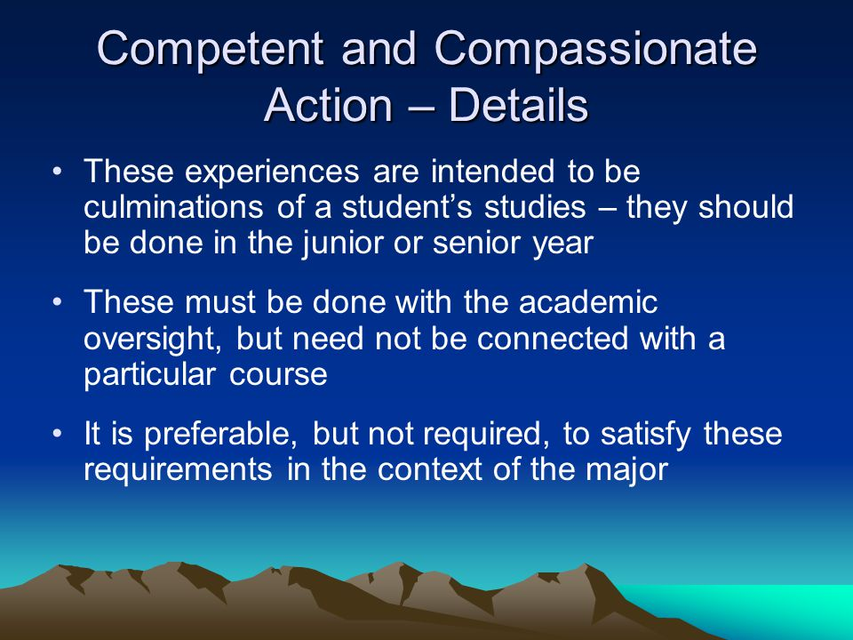 Competent and Compassionate Action – Details