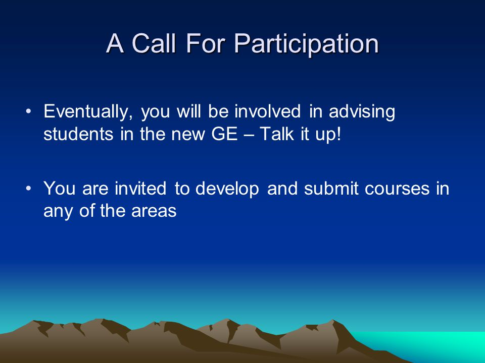 A Call For Participation