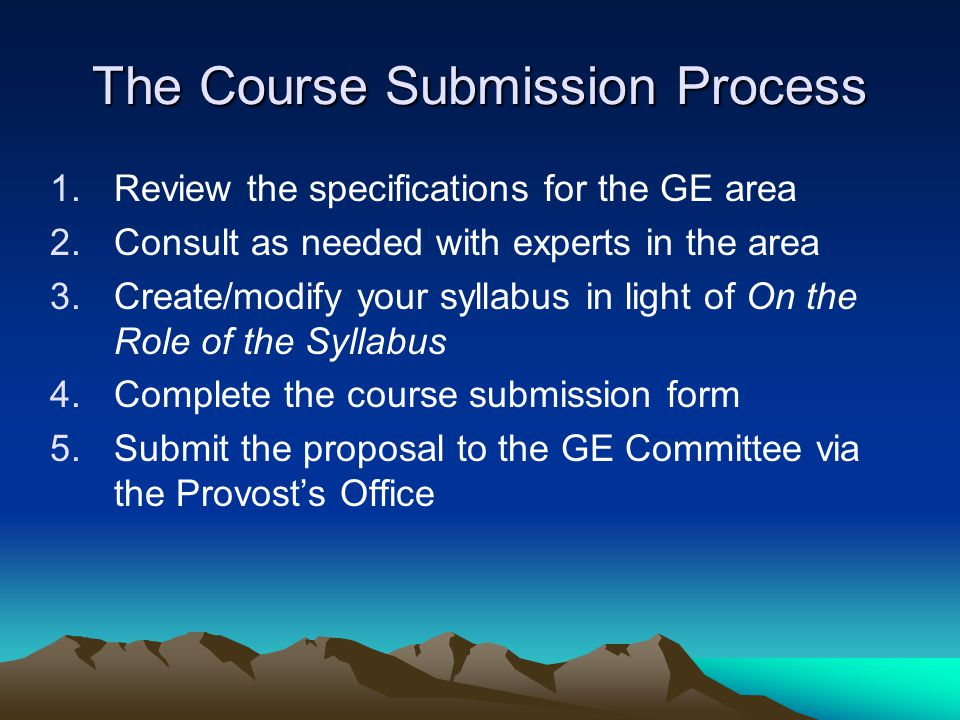 The Course Submission Process