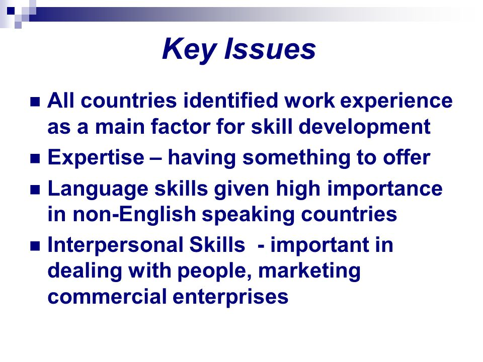 Key Issues All countries identified work experience as a main factor for skill development. Expertise – having something to offer.