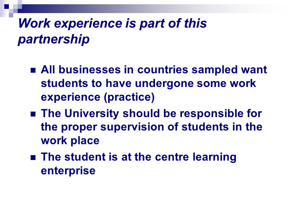 Work experience is part of this partnership