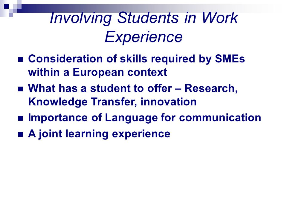 Involving Students in Work Experience