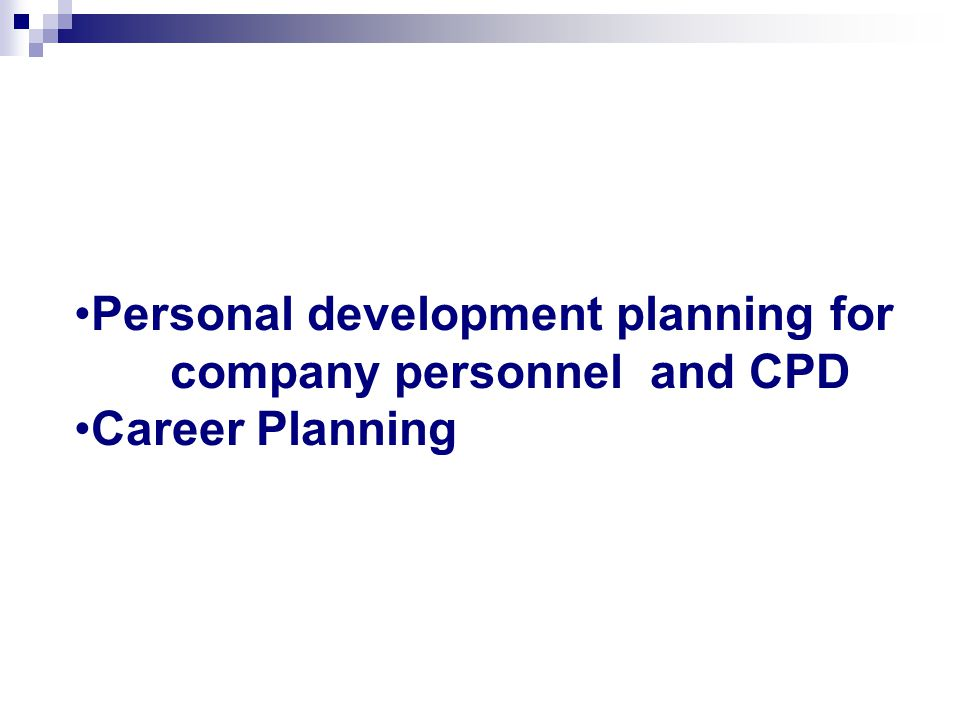 Personal development planning for company personnel and CPD