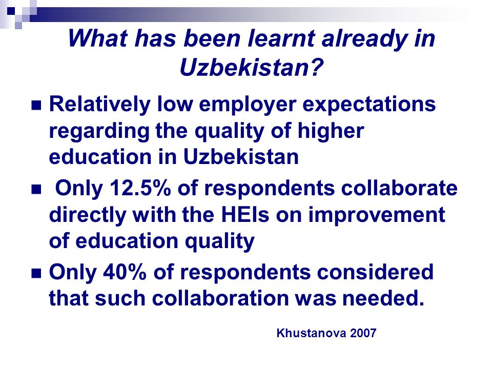 What has been learnt already in Uzbekistan