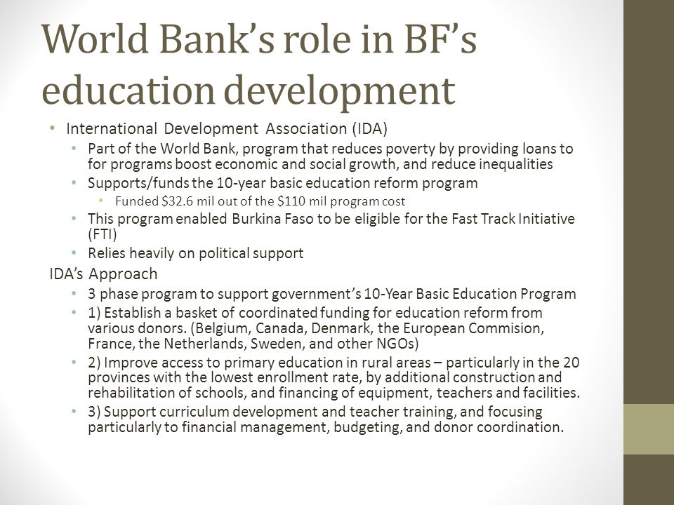 World Bank's role in BF's education development